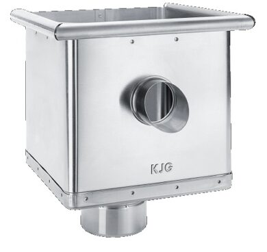 Kotlík pozinkovaný sběrný kubický excentrický s výtokem 100 mm(2777)