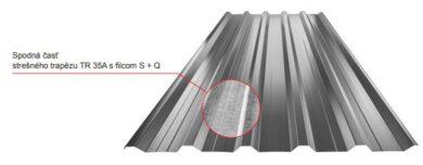 Plech trapézový pozinkovaný 35A plus- střešní 0,55mm, lesklý(5374)