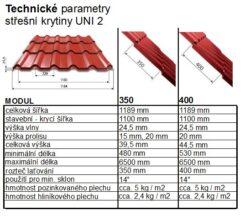 Krytina UNI 2, měděno hnědá RAL 8004, matná - tlouška 0,50mm, modul 400(1484)