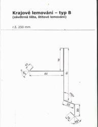 Lemování krajové pozinkované r.š.250 mm, délka 2 m, typ B(666)
