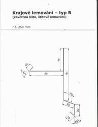 Lemování krajové pozinkované antracit r.š.250 mm, délka 2 m, typ B(796)