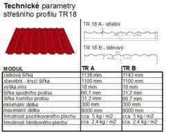 Plech trapézový měděno hnědý RAL 8004, TR18A - střešní 0,50mm matný